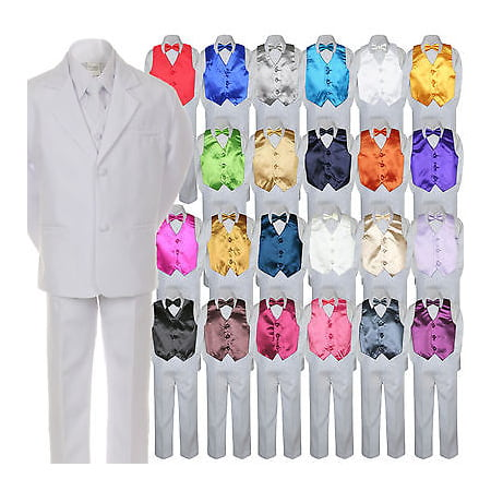 7pc Boy Baby Kid Teen Formal Wedding White Suit Tuxedo Extra Vest Bow Tie sz S-7 (Black Vest And Bow Tie For Boys)