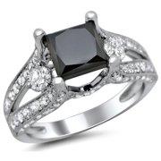 Noori Collection Noori 18k Gold 3 1/3ct TDW Certified Black Princess Cut 3 Stone Round Diamond Engagement Ring