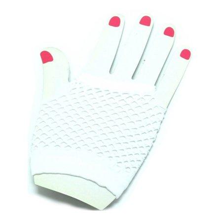 Adults  Neon White Fishnet Fingerless 80s Rock Costume Half Gloves](Fishnet Gloves)