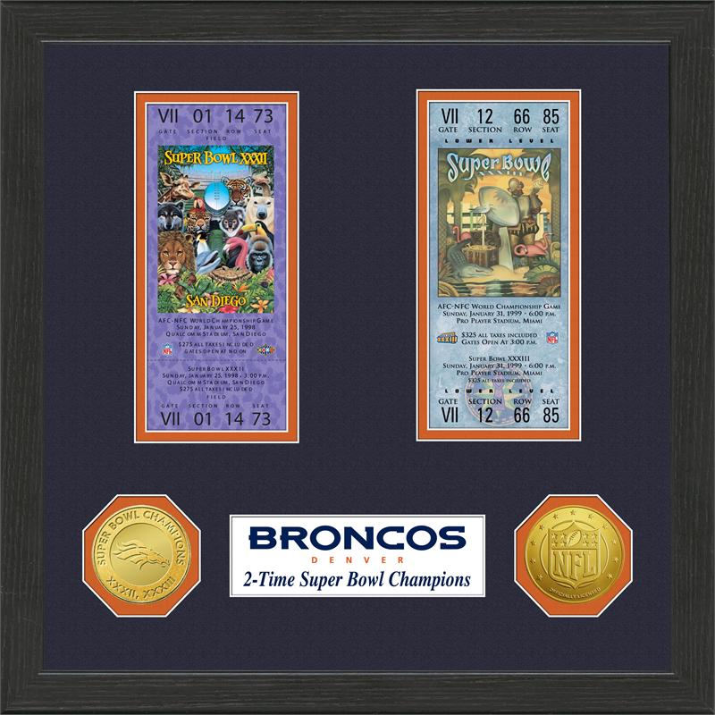 Denver Broncos Super Bowl Ticket Collection Plaque by The Highland Mint