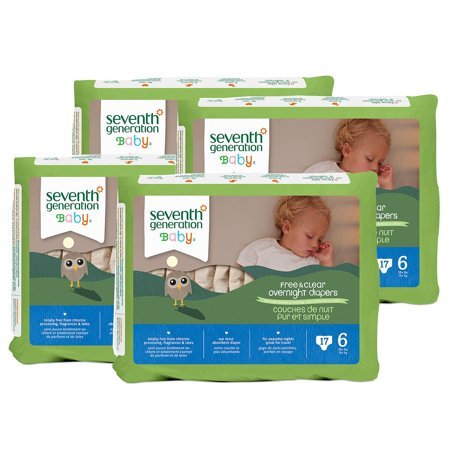 A Product of Seventh Generation Free & Clear Overnight Diapers - Diaper Size Stage 6 - 17 Ct. [Skin Soft, Comfortable and Good Sleep Diapers](Babys Best