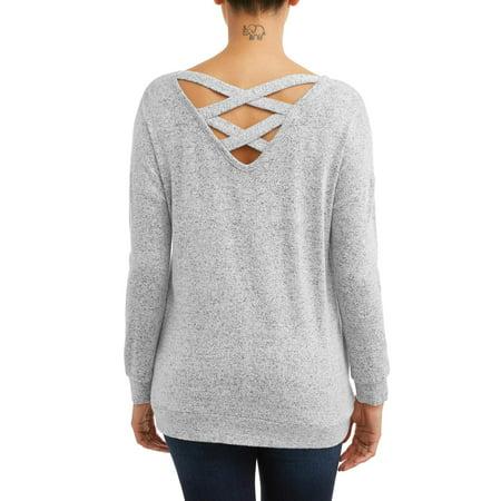 Per Se Women's Long Sleeve Criss Cross Back Super Soft Top