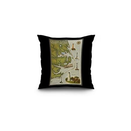 Outer Banks, North Carolina - Lighthouse & Town Map - Lantern Press Artwork (16x16 Spun Polyester Pillow, Black