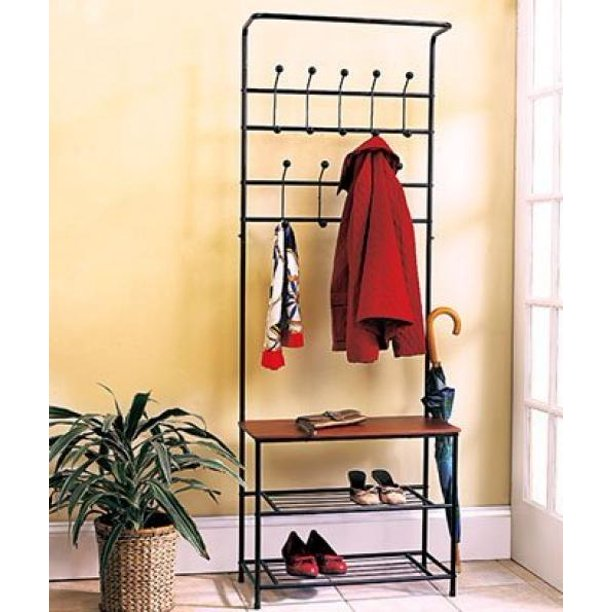 1 X Metal Entryway Storage Bench with Coat Rack
