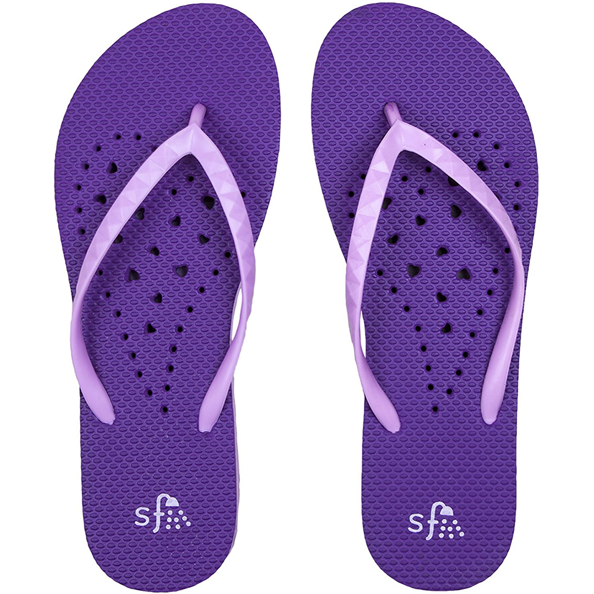 Showaflops Women's Antimicrobial Shower and Water Sandals - Violet Hearts