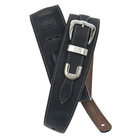 Planet Waves Belt Buckle Leather Guitar Strap, Black - Guitar Belt Buckle