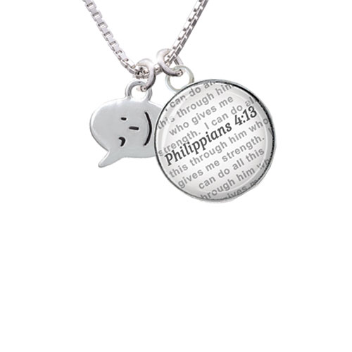 Emoticon :- ) - Winking - Bible Verse Philippians 4:13 Glass Dome Necklace