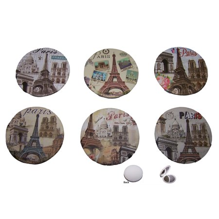 Cosmetic Compact Mirrors Eiffel Tower Paris Assorted Designs 6 Pc Pack (COSAM9-6 Pieces) (Design Compact Mirror)