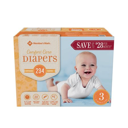 A Product of Member'S Mark Comfort Care Baby Diapers - Diaper Size 3 - 234 Ct. ( Weight 16 - 28 lbs.) [Skin Soft, Comfortable and Good Sleep Diapers](Babys Best