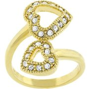 Sunrise Wholesale J1809 14k Gold Bonded Dual Pave CZ Heart-to-Heart Ring - Size 06