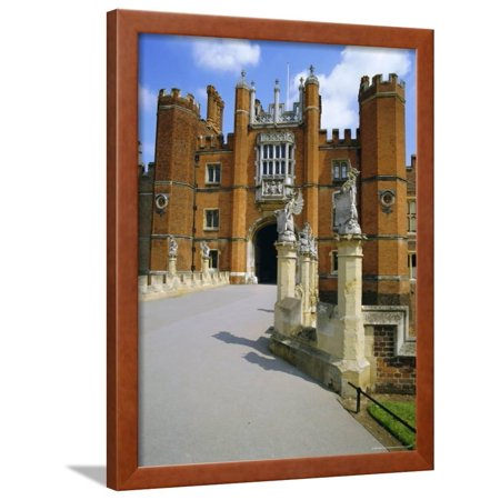 The Queen's Beasts on the Bridge Leading to Hampton Court Palace, Hampton Court, London, England Framed Print Wall Art By Walter