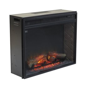 AKDY FP0045 33 1500W Freestanding Electric Fireplace Insert Heater With Curved Tempered Glass And Remote Control Black