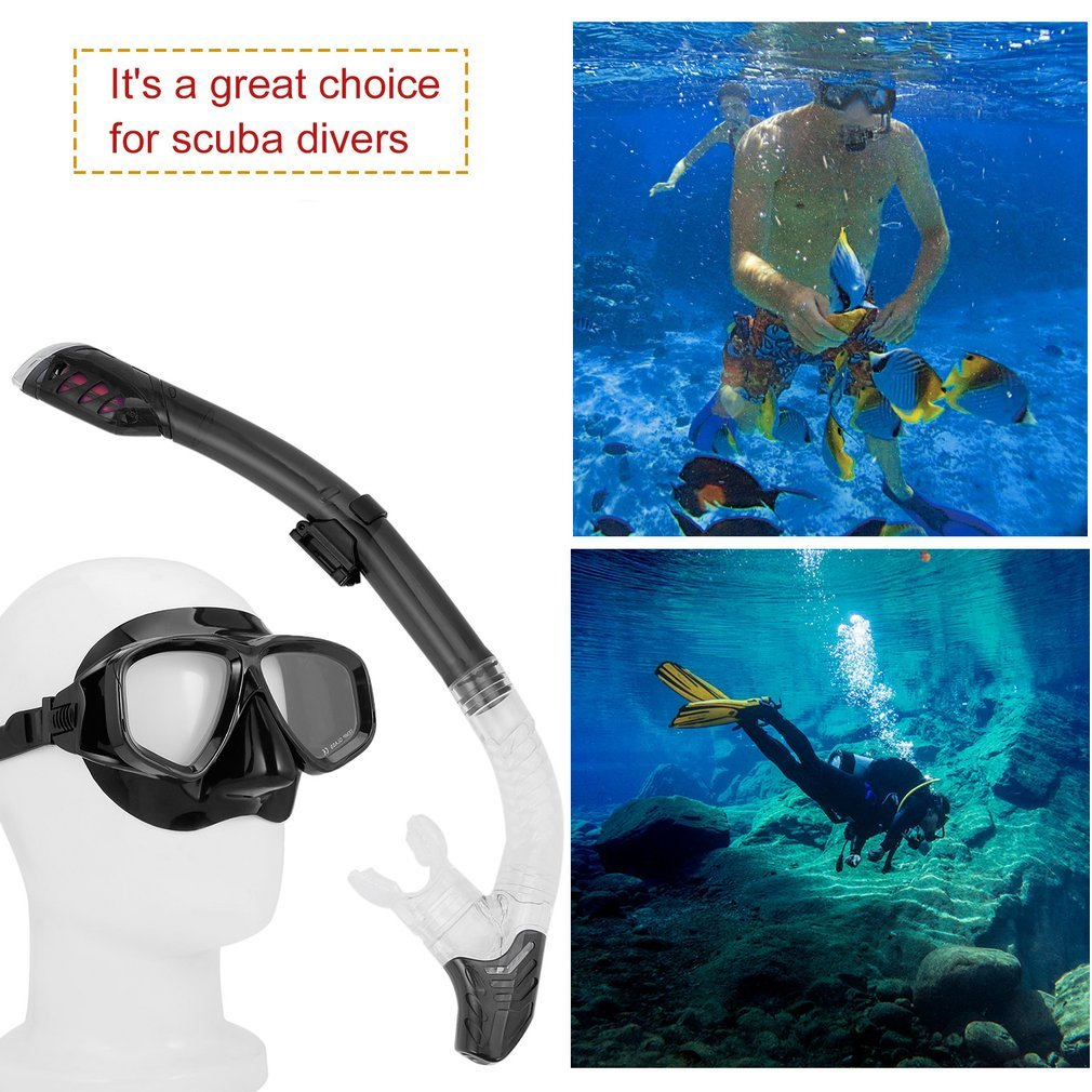 Diving Masks Goggle Full Dry Silicone Snorkel Tube Set Water Sports Equipment by