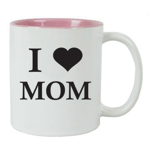 I Love Mom 11 oz White Ceramic Coffee Mug (Pink) with FREE Gift Box - Great Gift for Mothers's Day Birthday or Christmas Gift for Mom Grandma Wife