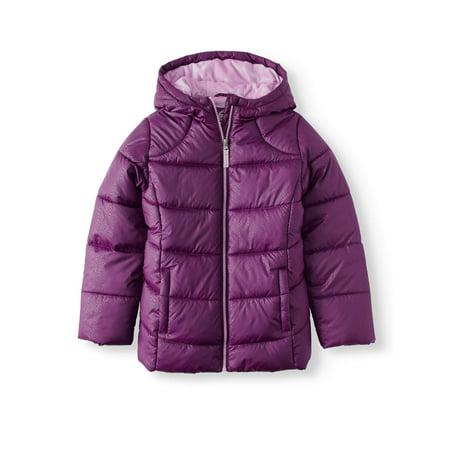 Wonder Nation Girls' Quilted Bubble Jacket - Girls Leopard Coat