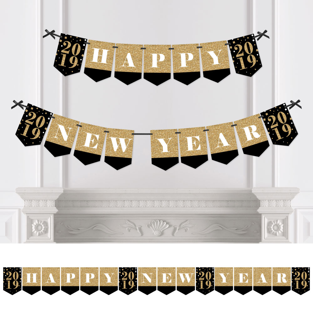 New Year's Eve - Gold - 2019 New Years Eve Party Bunting Banner - Gold Party Decorations - Happy New Year