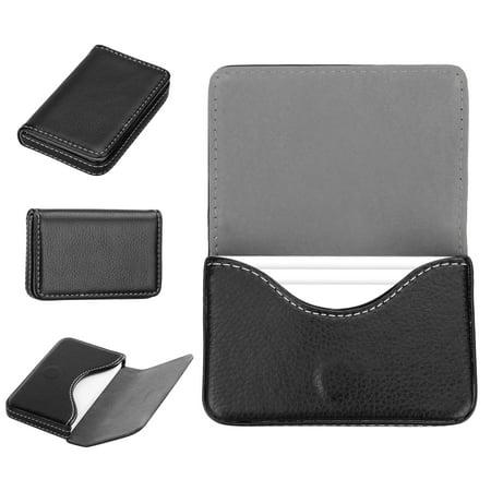 Globe Business Card Holder - Square Pocket Leather Name Business Card ID Card Credit Card Holder Case Wallet