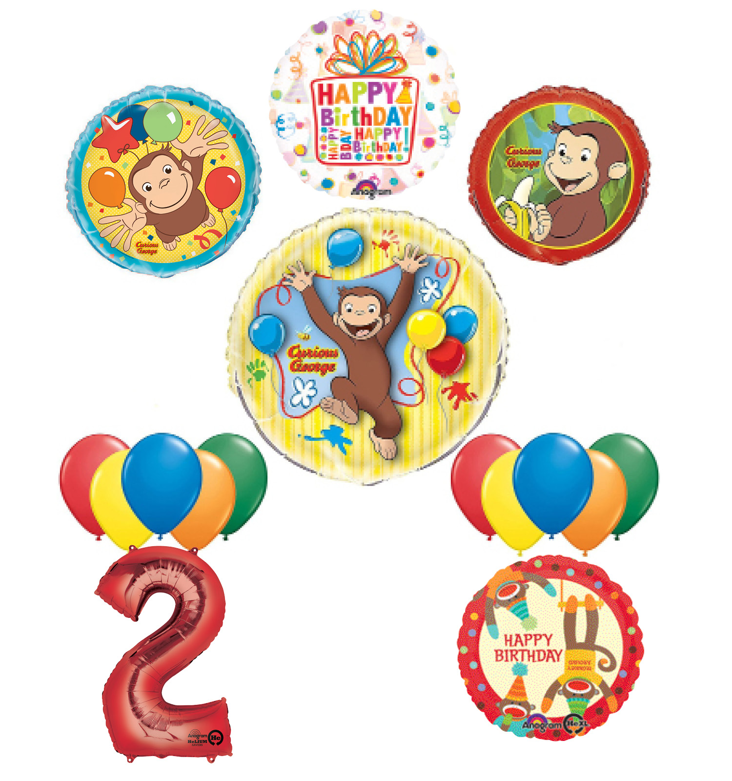 The Ultimate 16pc Curious George 2nd birthday party Supplies