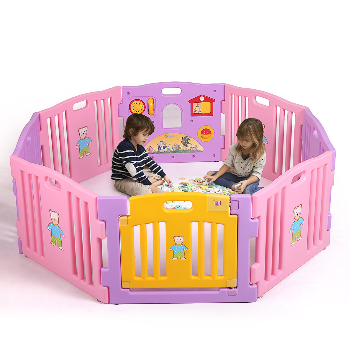 Jaxpety Baby Playpen 8 Panel Kids Safety Play Center Yard Home Indoor Outdoor Fence Pink