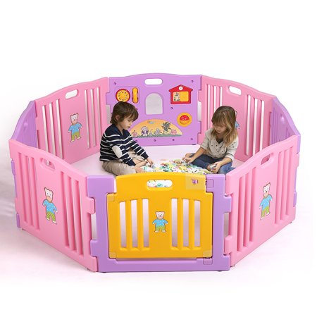 - Baby Playpen 8 Panel Kids Safety Play Center Yard Home Indoor Outdoor Fence Pink