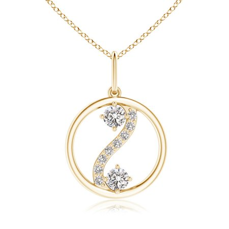 Valentine Jewelry gift - Two Stone Diamond Open Circle Swirl Pendant in 14K Yellow Gold (2.5mm Diamond) - SP0879D-YG-IJI1I2-2.5 14k Gold Diamond Circle Pendant