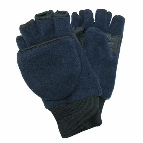 CTM® Size Large / Xlarge Kids and Teens Fleece Convertible Fingerless Winter Mitten / Gloves, Navy