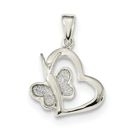925 Sterling Silver Polished Glitter Enamel Heart Butterfly Pendant For Necklace