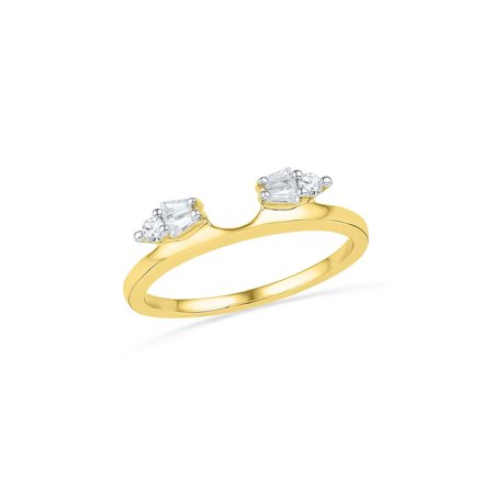 14kt Yellow Gold Womens Baguette Diamond Ring Guard Wrap Solitaire Enhancer 1/5 Cttw (Gold Diamond Solitaire Ring Guard)