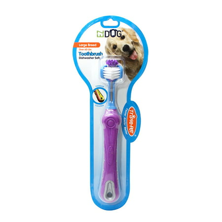 Dogtooth Violet (Triple Pet EZ Dog Three Sided Toothbrush For Dogs, Large Breeds)