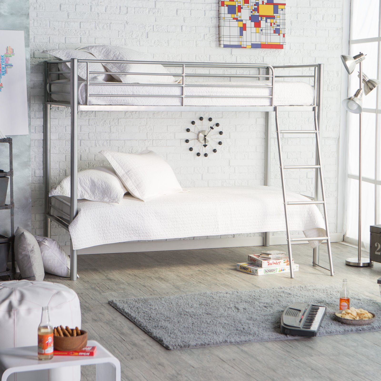 Duro Chicago Bunk Bed Twin over Twin Silver by BL Packaging PTE Ltd