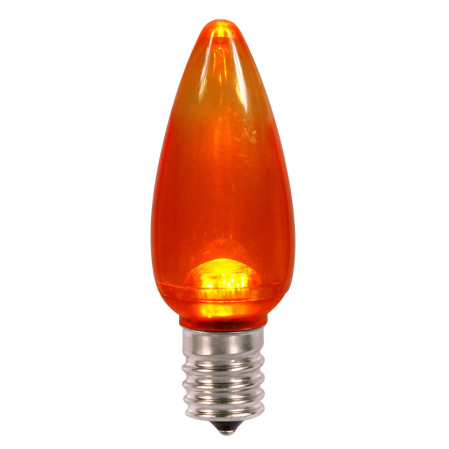 Club Pack of 25 Orange LED Transparent C9 Christmas Replacement Bulbs