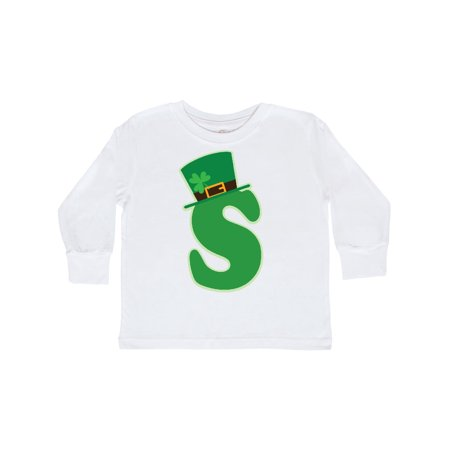 Irish St Patricks Day Letter S Monogram Toddler Long Sleeve T-Shirt Monogrammed Childrens Clothing