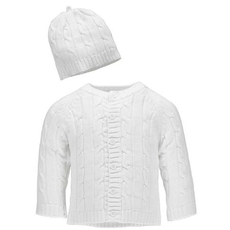 df511d0f5662 Baby Dove - Baby Dove Girls 0-9 Months Cable Knit Cardigan   Beanie ...
