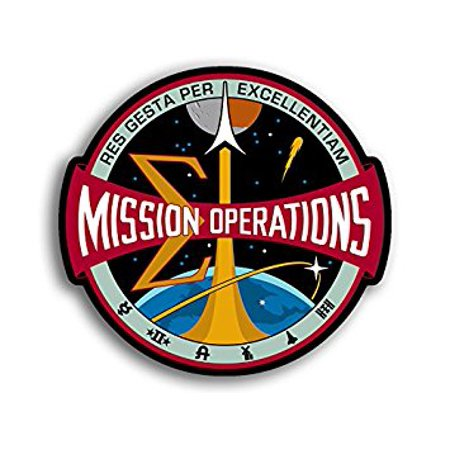 Operation Decal (Nasa MISSION OPERATIONS Logo Shaped Sticker Decal (seal space) Size: 4 x 4 inch )
