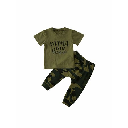 2PCS Newborn Baby Boy Girls Top T-shirt Pants Camo Outfits Clothes Tracksuit thumbnail