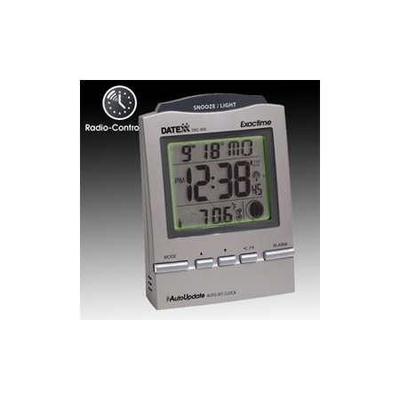 Radio Control Desk Alarm Clock with Month, Day, Date, Moon Phase-Pewter color