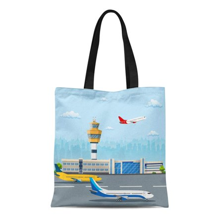 ASHLEIGH Canvas Tote Bag Airport Building and Airplanes on Runway Control Tower Durable Reusable Shopping Shoulder Grocery Bag
