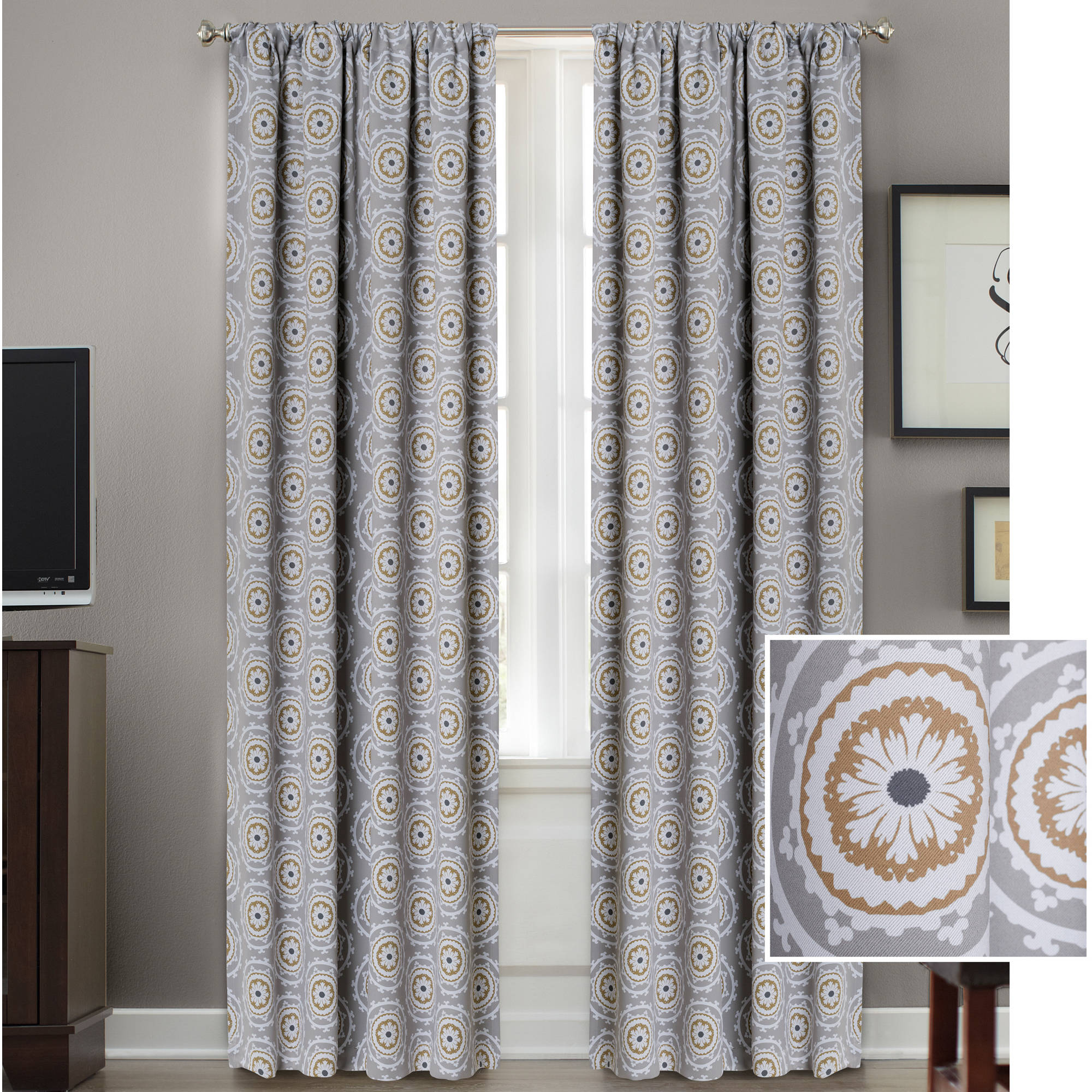 Click here to buy Better Homes and Gardens Medallion Room Darkening Curtain Panel by Colordrift LLC.