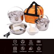 Stainless Steel Folding Handle Hanging Pot Frying Pan Cookware Set Portable Outdoor Camping Picnic