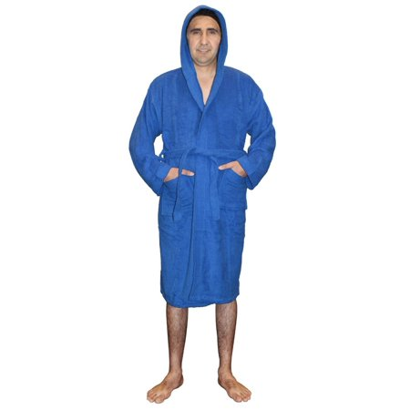 (Mens 100% Terry Cotton Toweling Bathrobe Dressing Robe Hooded Blue Large)