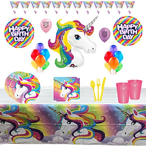 Rainbow Unicorn Party Supplies Birthday Party Tableware and Balloon Set - Walmart.com