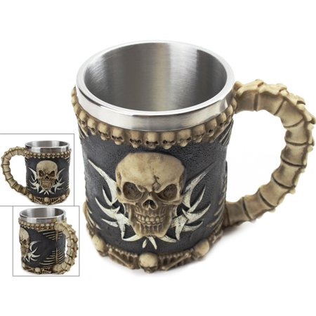 3D Ossuary Skeleton Skull Mug Tankard - Insulating Stainless Steel Liner Beer Coffee and Tea Cup Halloween Party, Birthday Gift