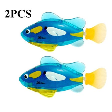 Baby Bath Toys,Kapmore 2PCS Water Activated Swimming Floating Fish Toy Electronic Toy with LED Light for Toddlers Boys -