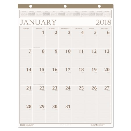 House of Doolittle Recycled Large Print Monthly Wall Calendar, Leatherette Binding, 20 x 26, 2018
