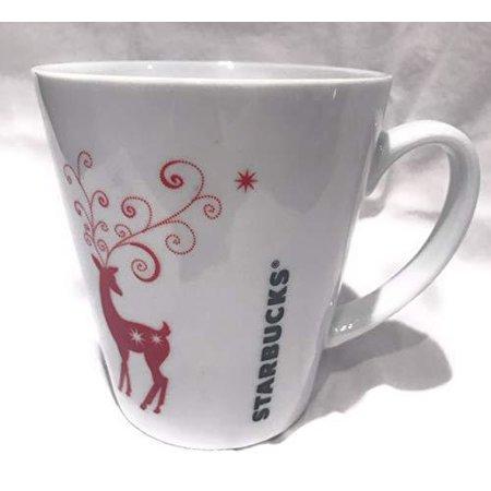 Starbucks 2011 Red and white Reindeer Holiday Christmas Mug 13oz ()