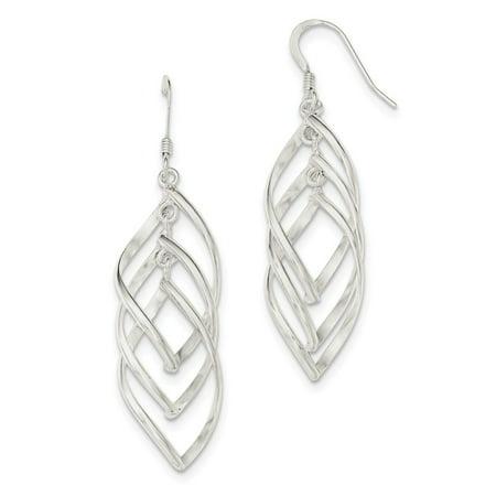 (.925 Sterling Silver 63 MM Dangle Shepherd Hook Earrings MSRP $97)
