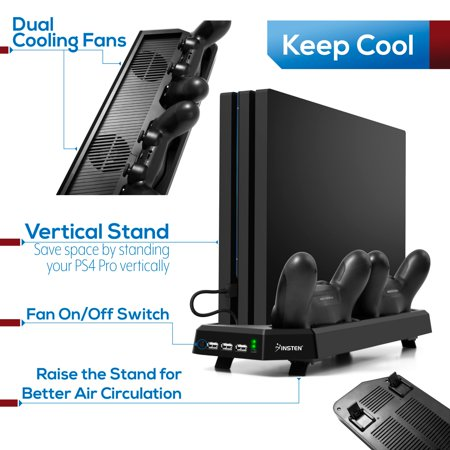 PS4 Pro Charger Dock Station with Cooling Fan, by Insten Dual Remote Controller Vertical Stand Charge Docking for Sony PS4 Pro Console with 3 USB Hub Charging Ports Bulit-in Cooler Fan & LED Indicator - image 4 de 10