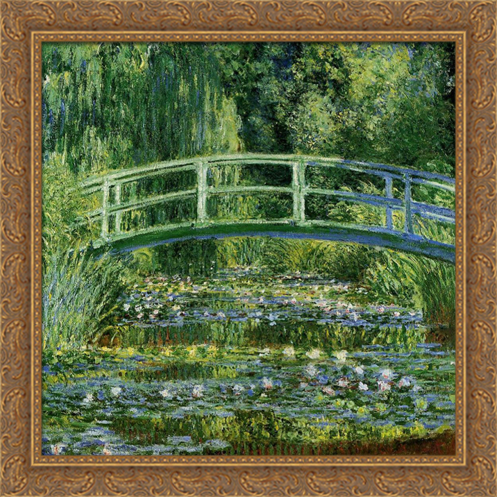 The Japanese Bridge (The Water-Lily Pond) 28x28 Large Gold Ornate Wood Framed Canvas Art by Claude Monet