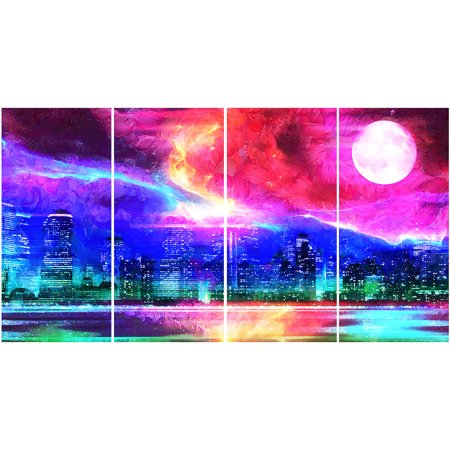 - Design Art Full Moon in the City, 4 Pieces, 48