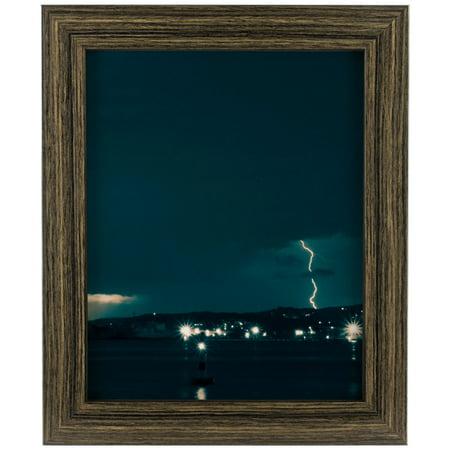 Craig Frames Bauhaus 125, Modern Black Tan Oak Picture Frame, 11x17 Inch